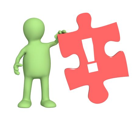 3d puppet, holding piece of a puzzle Stock Photo - 4803636