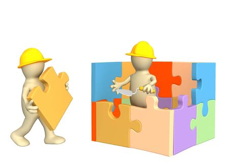 building trust: 3d puppets building the house. Object over white Stock Photo