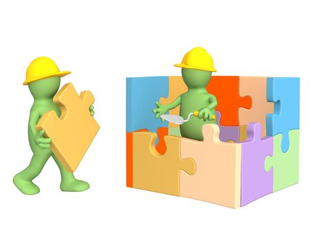 incomplete: 3d puppets building the house. Object over white Stock Photo