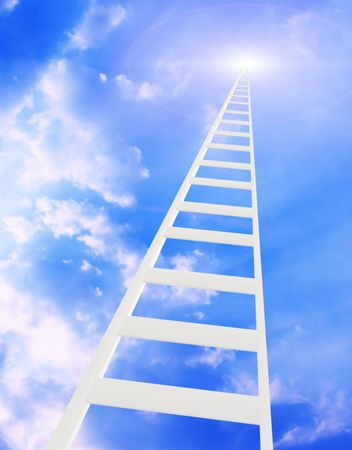 ladder of success: Conceptual image - ladder in the sky