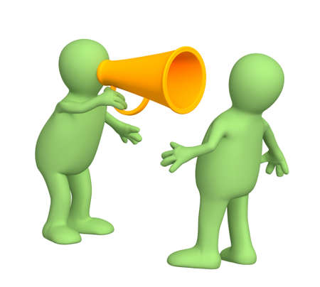 man yelling: 3d puppet with an orange megaphone Stock Photo