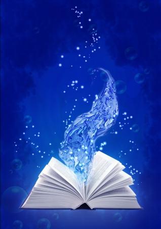Set - Bücher von vier Elementen. Buch der Wasser Magie Standard-Bild