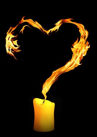 Bright flame in the form of heart Stock Photo - 4844145