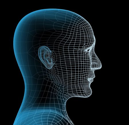 digitally generated: Transparent 3d head of the person - x-ray
