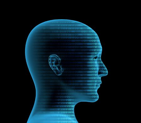 Human profile from a binary code Stock Photo - 4863637