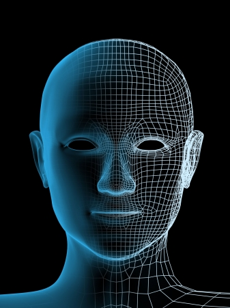 Transparent 3d head of the person - x-ray Stock Photo - 4863635