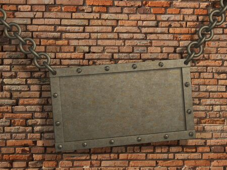 catena: Grunge background with 3d metal tablet, suspended on circuits