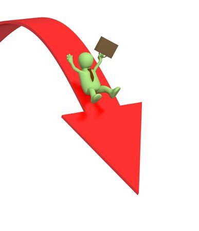 downwards: 3d businessman -  puppet, sliding downwards on an arrow