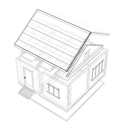 3d sketch of a house. Object over white photo