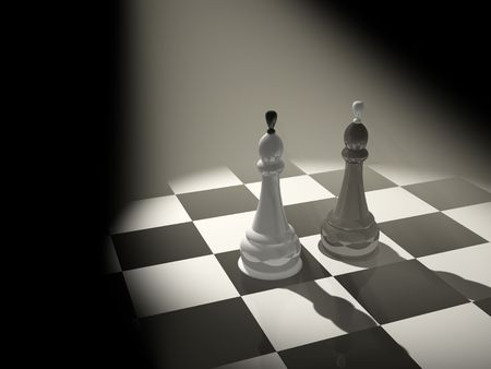 battling: Two chess kings - 3d render
