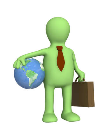 Puppet - businessman, holding portfolio and Earth Stock Photo - 4863648