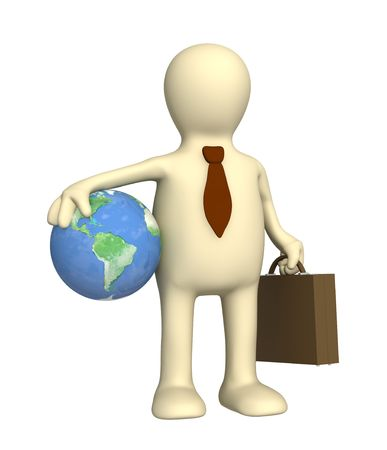 Puppet - businessman, holding portfolio and Earth Stock Photo - 4863645