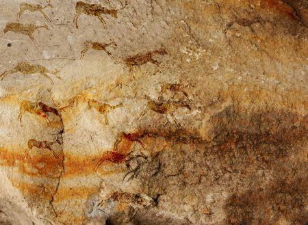 pintura rupestre: La cueva de la pared con dibujos de la persona primitiva - collage Foto de archivo