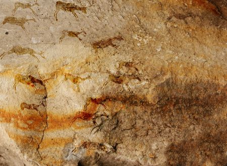 Wall cave with drawings of the primitive person - collage