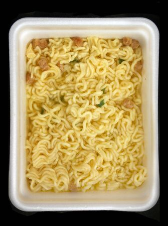 Noodles of fast food - the top view photo