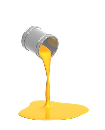 Yellow paint pour out from bucket