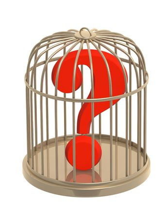 Question mark of red color in cage Stock Photo - 4913363