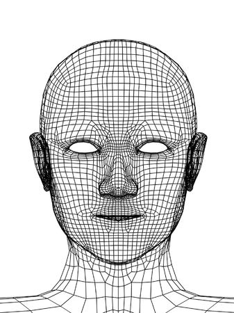 Head of the person from a black 3d grid Stock Photo - 4913365