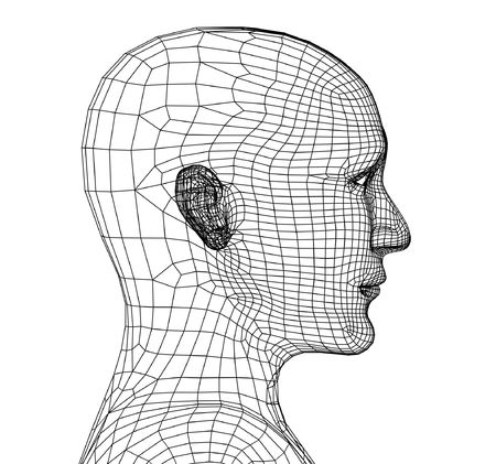 digitally generated image: Head of the person from a black 3d grid