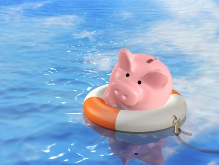 drowning: Conceptual image - help at financial crisis