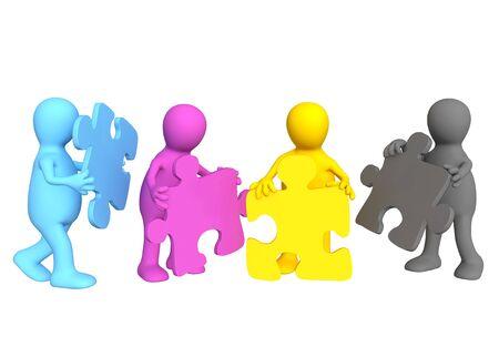 merger: Team of four puppets - palette CMYK