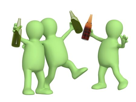 Cheerful friends with bottles of beer. Object over white photo