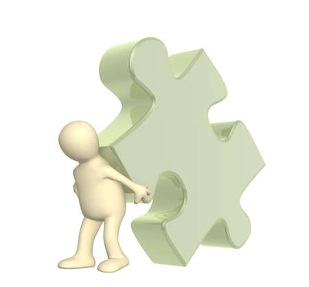 3d puppet, supporting part of puzzle Stock Photo - 4955288