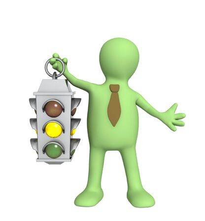 yellow attention: Puppet - businessman with traffic-light Stock Photo