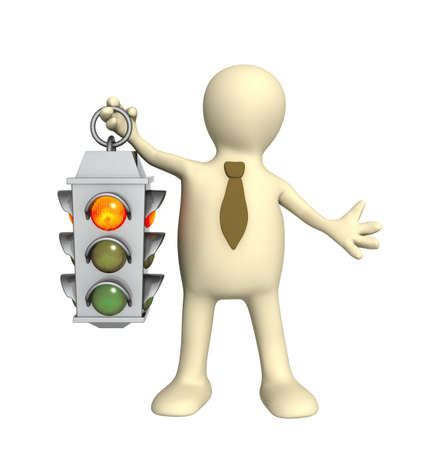 Puppet - businessman with traffic-light photo