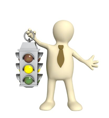 raise: Puppet - businessman with traffic-light Stock Photo
