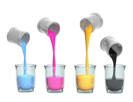 Conceptual image - a palette CMYK. Objects over white photo