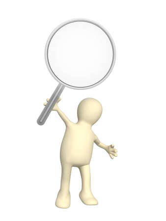 helpers: 3d puppet, holding in hands the big magnifier