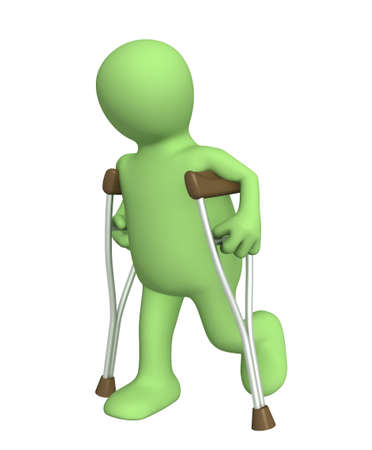 3d puppet - invalid with crutches Stock Photo - 4955303