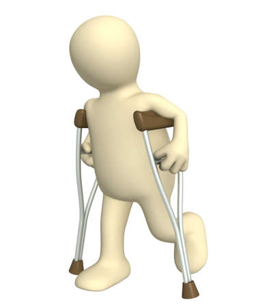 3d puppet - invalid with crutches Stock Photo - 4955302