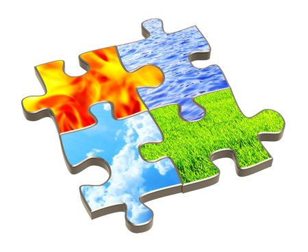 Puzzle with four elements of nature. Object over white photo