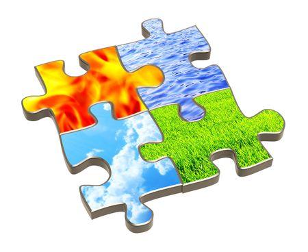 cuatro elementos: Rompecabezas con cuatro elementos de la naturaleza. Objeto m�s blanco