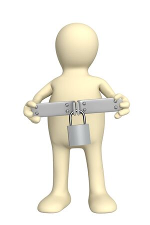 inaccessible: Puppet with closed lock - over white Stock Photo