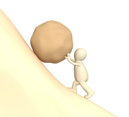 3d puppet: 3d puppet pushing uphill a heavy stone Stock Photo