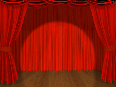 Theatrical curtain of red color Stock Photo - 4998469