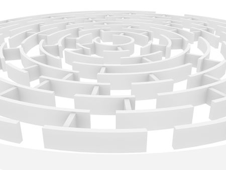 conquering: Circular 3d maze of white color