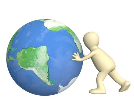 3d puppet: 3d puppet, pushing Earth - over white Stock Photo