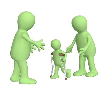invalid: Family with the child - invalid Stock Photo