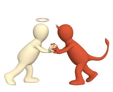 Conceptual image - ein Widerspruch der Engel und Teufel Standard-Bild