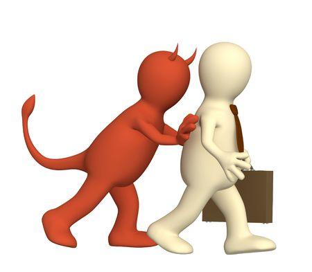 hesitating: Demon, empujando a la persona en un delito Foto de archivo