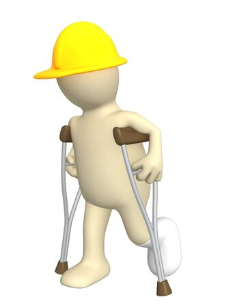 3d puppet - builder with crutches Stock Photo - 5053455