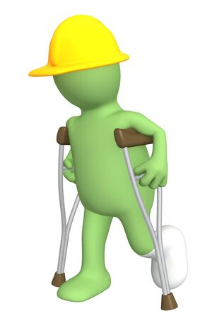 3d puppet - builder with crutches Stock Photo - 5053461