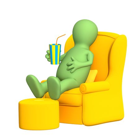 cosy: 3d puppet, having a rest in a soft armchair. Objects over white Stock Photo