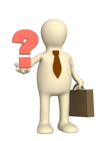 3d puppet - businessman with a question mark Stock Photo - 5115850