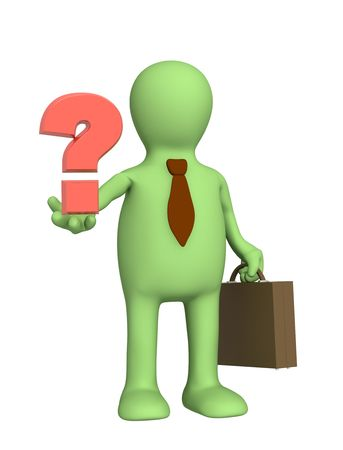3d puppet - businessman with a question mark Stock Photo - 5115841