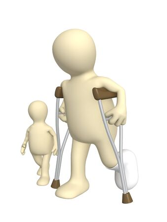 Child and the adult - invalid on walk Stock Photo - 5115846